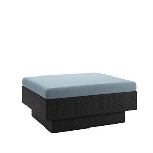 Patio Ottoman in Textured Black Weave and Teal
