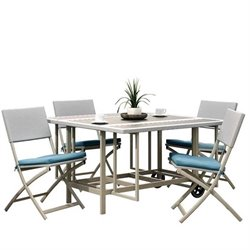 CorLiving 5 Piece Folding Patio Dining Set in Taupe and Teal