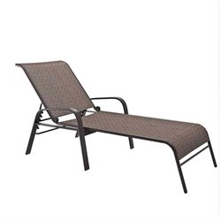 CorLiving Reclining Patio Chaise Lounge in Brown