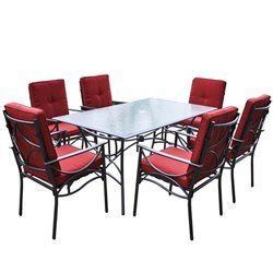 CorLiving 7 Piece Patio Dining Set in Charcoal Black and Red