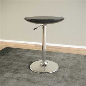 Adjustable Round Pub Table in Glossy Black