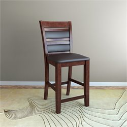 Leather Counter Stool in Chocolate (Set of 2)