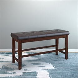 Leather Counter Height Dining Bench in Chocolate