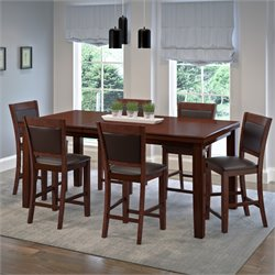 7 Piece Extendable Leather Counter Dining Set in Chocolate