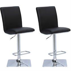 Adjustable Leather Bar Stool in Black (Set of 2)