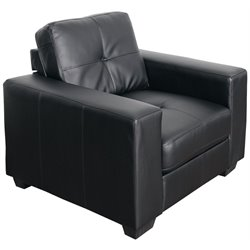 Tufted Leather Chair in Black