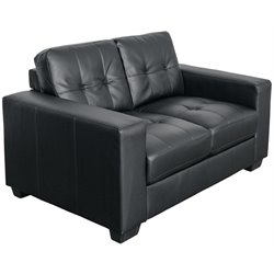Tufted Leather Loveseat in Black