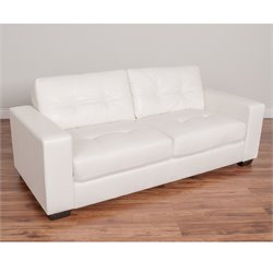 Tufted Leather Sofa in White