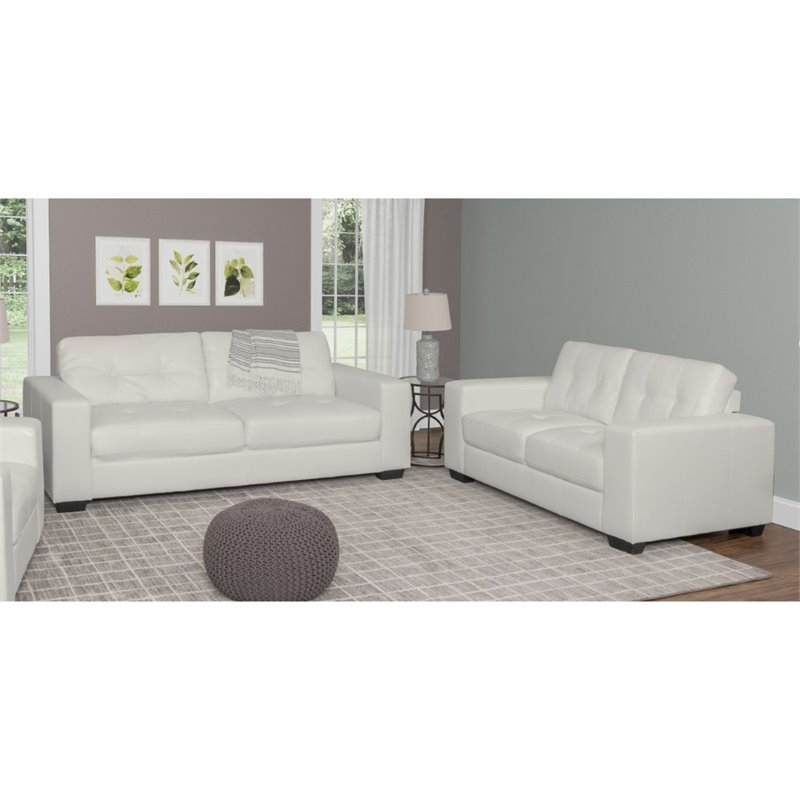 2 piece tufted leather sofa set in white lzy 111 z2 for Marthena 2 piece white leather sectional sofa with ottoman