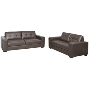 2 Piece Tufted Leather Sofa Set in Brown