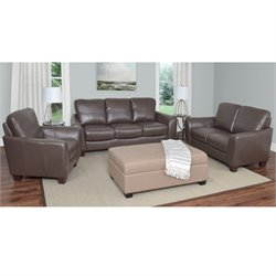3 Piece Leather Sofa Set in Brown