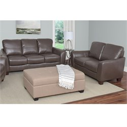 2 Piece Leather Sofa Set in Brown