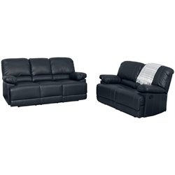 2 Piece Leather Reclining Sofa Set in Black