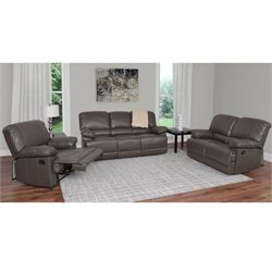 3 Piece Leather Reclining Sofa Set in Brown