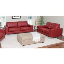 2 Piece Contemporary Leather Sofa Set in Red