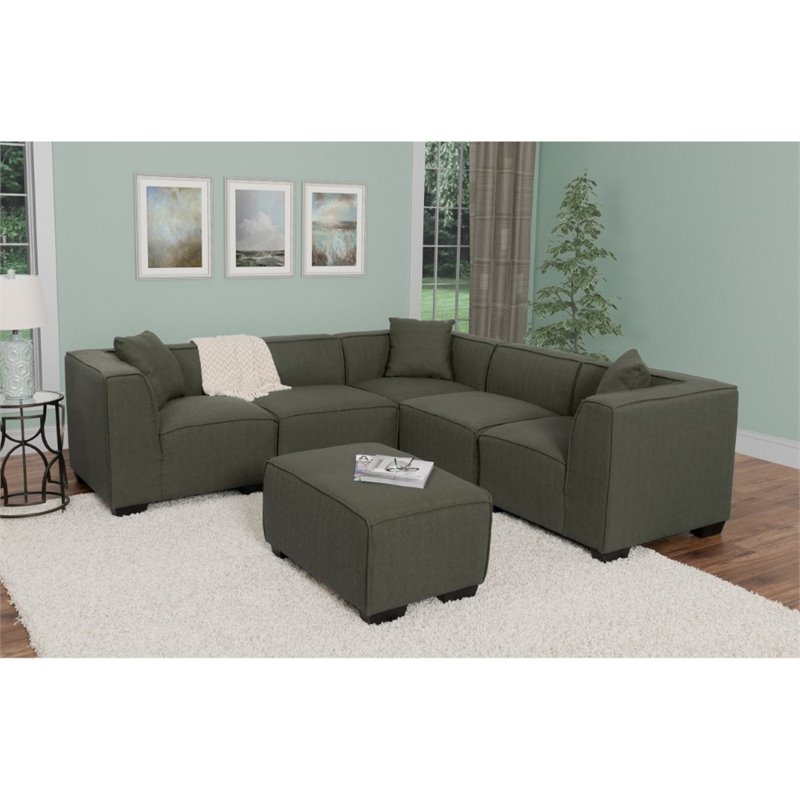 5 Piece Sectional With Ottoman In Army Green Lzy 838 Z1