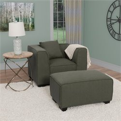 Arm Chair with Ottoman in Army Green