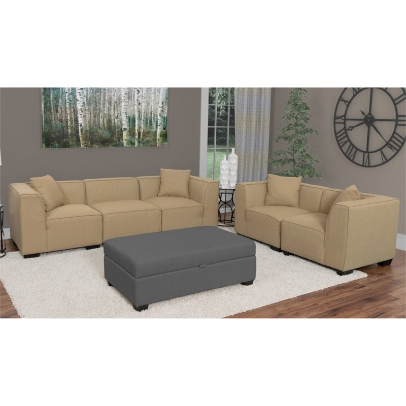 5 Piece Sectional Sofa And Loveseat Set In Beige Lzy 868 Z9