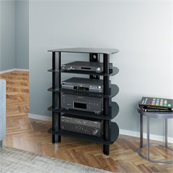4 Shelf Glass Top Component Stand in Satin Black