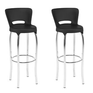 CorLiving Bar Stool in Black and Chrome  (Set of 2)