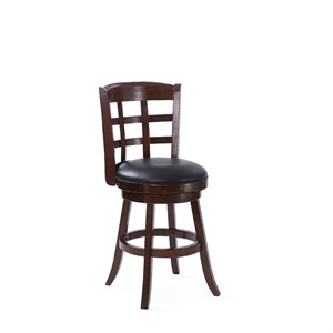CorLiving Woodgrove Counter Stool with Bonded Leather Seat