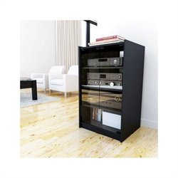 Corliving Cranley Enclosed Component Stand in Ravenwood Black