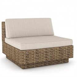 Corliving Park Terrace Armless Middle Seat in Saddle Strap Weave