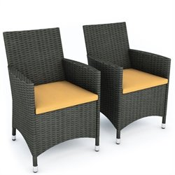 Corliving Cascade Outdoor Chair in River Rock Black Weave (Set of 2)
