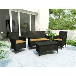 Corliving Cascade 4 Piece Patio Set in River Rock Black Weave