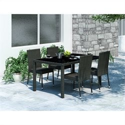 CorLiving Park Terrace 5 Piece Wicker Patio Dining Set in Black