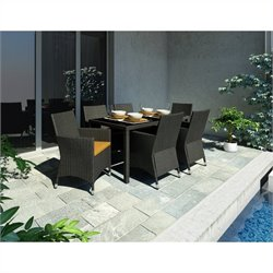 7 Piece Wicker Patio Dining Set in Black