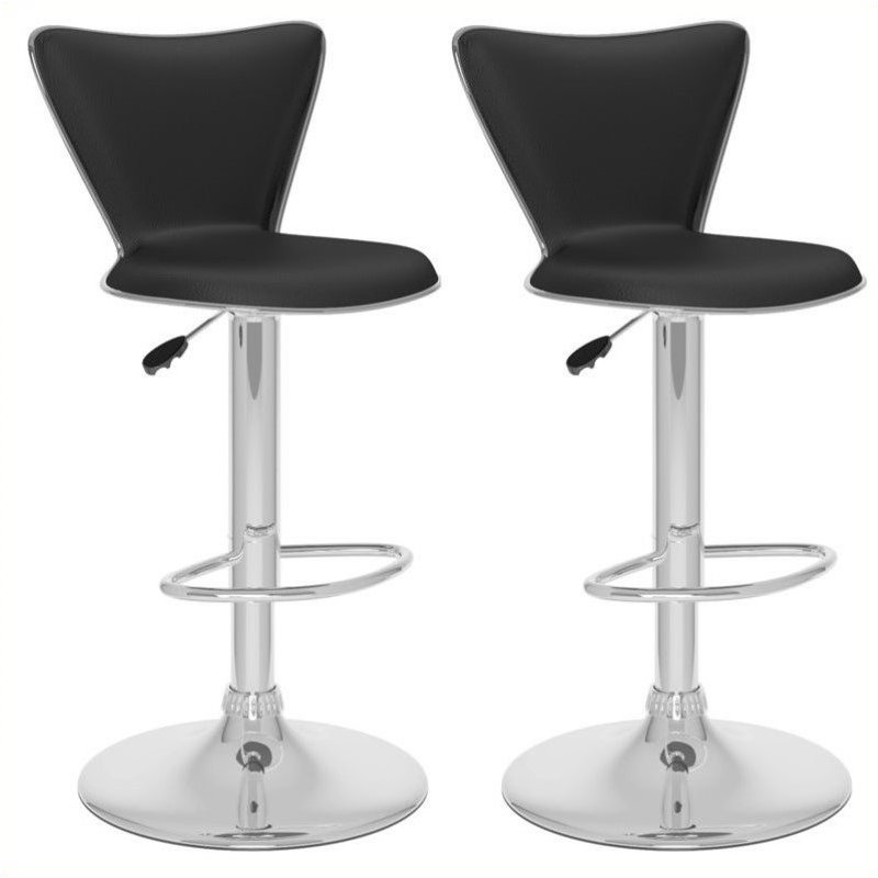 23 5 Quot 32 Quot Tall Back Bar Stool In Black Set Of 2 B 207 Upd