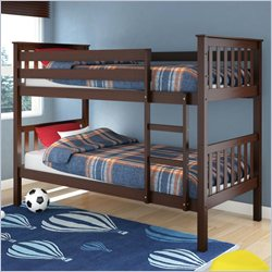 Sonax CorLiving Monterey Solid Wood Twin (Single) Bunk Bed in Espresso Brown