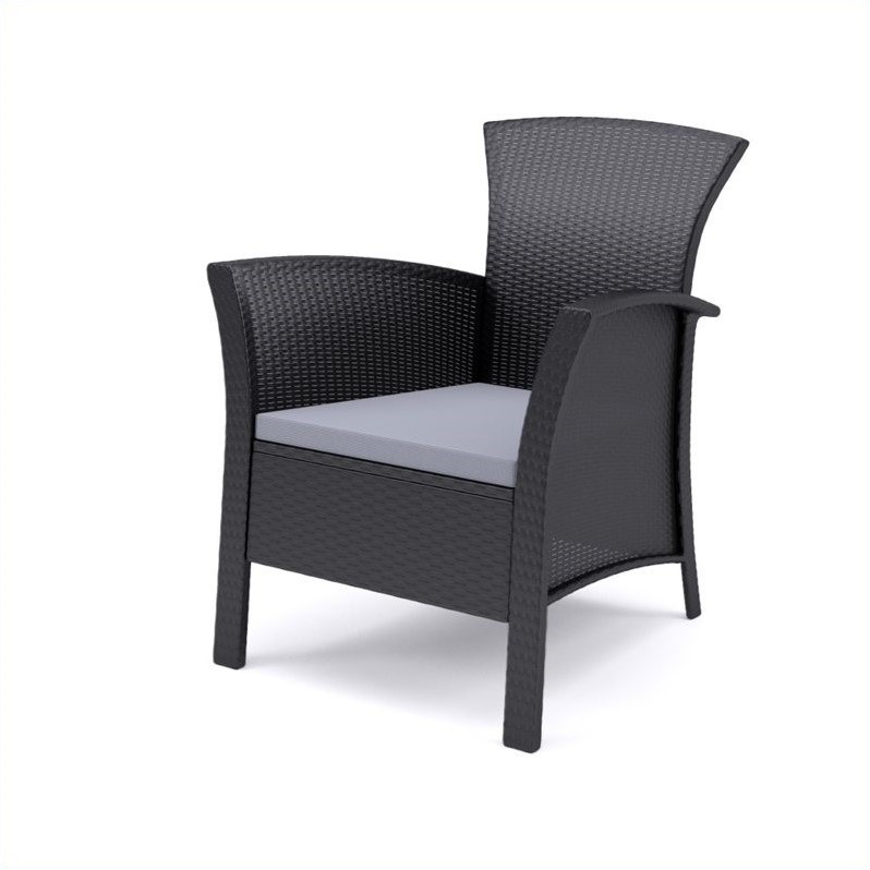 4 Pc Patio Set in Black Rope Weave