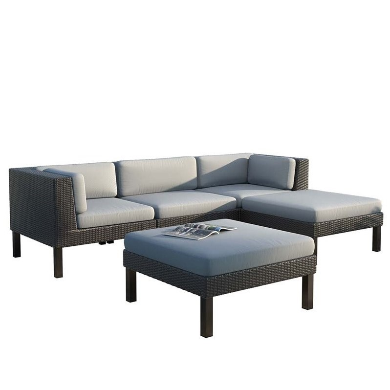 CorLiving Oakland 5 pc Sofa with Chaise Lounge Patio Set