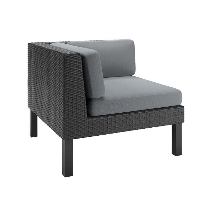 CorLiving Oakland Patio Corner Seat in Textured Black Weave