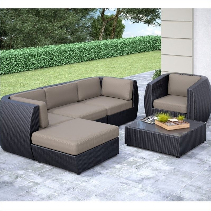 Curved 6 pc sofa chaise lounge chair patio set pps 605 z for Curved lounge