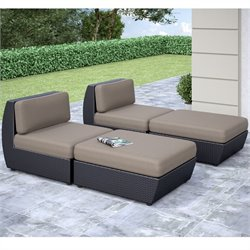 CorLiving Seattle Curved Patio Lounger (Set of 4)