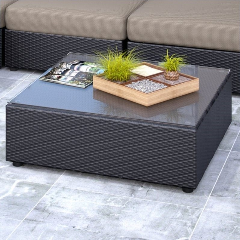 CorLiving Seattle Patio Table in Textured Black Weave