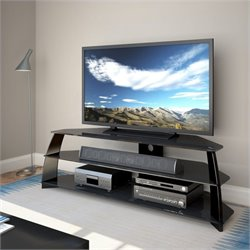 CorLiving Taylor Extra Wide Glossy Black TV Stand with Glass Shelves