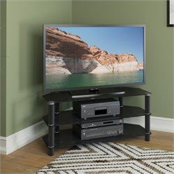 CorLiving Trinidad Black Glass TV Component Stand