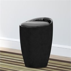 SonaX Corliving Faux Leather Storage Stool in Black