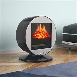 Corliving Desktop Fireplace Space Heater in Black and Silver