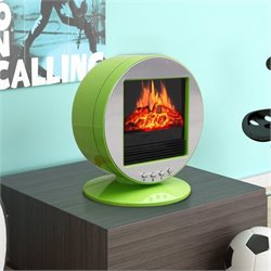 Corliving Desktop Fireplace Space Heater in Green and Silver