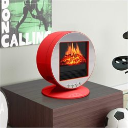 Corliving Desktop Fireplace Space Heater in Red and Silver