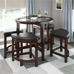 Sonax CorLiving Belgrove Stained Dining Table 4 Stools Dark Espresso