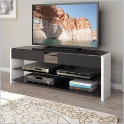 Sonax CorLiving Santa Brio Glossy White TV Stand with Sound Bar for TVs up to 55