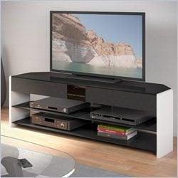 Sonax CorLiving Santa Brio Glossy White TV Stand with Sound Bar for TVs up to 70