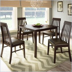 Sonax CorLiving 5pc Dark Cocoa Dining Set with Tapered Back Chairs - Chocolate Black Leather