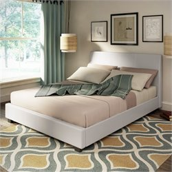 Leatherette Upholstered Queen Bed in White